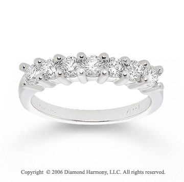 1/2 Carat Seven Stone Diamond 14k White Gold Anniversary Band