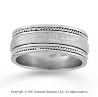 14k White Gold Classical Elegance Hand Carved Wedding Band