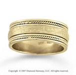 14k Yellow Gold Classical Elegance Hand Carved Wedding Band