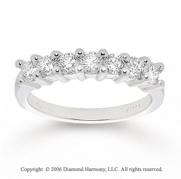 14k White Gold Seven Stone 3/4 Carat Diamond Anniversary Band