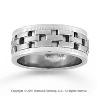 14k White Gold Brick Style Hand Carved Wedding Band