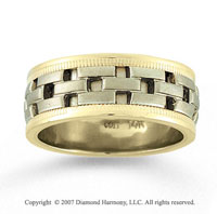 14k Yellow Gold Brick Milgrain Hand Carved Wedding Band