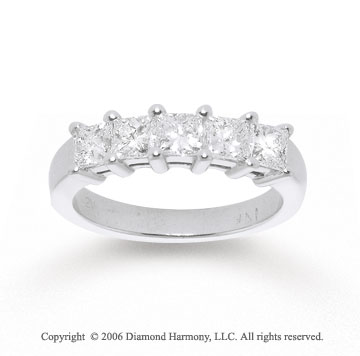 14k White Gold Prong 1.25 Carat Diamond Anniversary Band