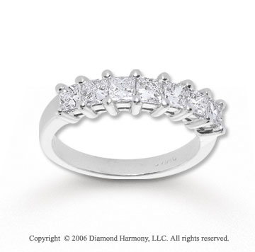 14k White Gold Seven Stone 1.00 Carat Diamond Anniversary Band