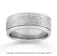 14k White Gold Fine Class Hand Carved Wedding Band