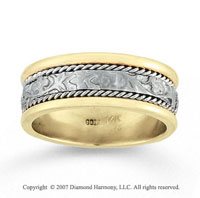 14k Two Tone Gold Elegant Class Hand Carved Wedding Band