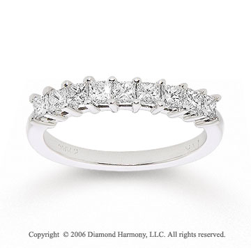 14k White Gold Princess 1/2 Carat Diamond Anniversary Band
