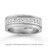 14k White Gold Symbolic Fine Hand Carved Wedding Band