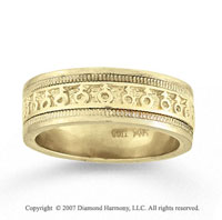 14k Yellow Gold Symbolic Hand Carved Wedding Band