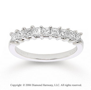 14k White Gold Princess 3/4 Carat Diamond Anniversary Band