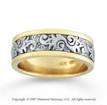 14k Two Tone Gold Fine Fashion Hand Carved Wedding Band