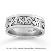 14k White Gold Fine Fashion Hand Carved Wedding Band