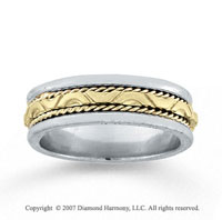 14k Two Tone Gold Forever Love Hand Carved Wedding Band