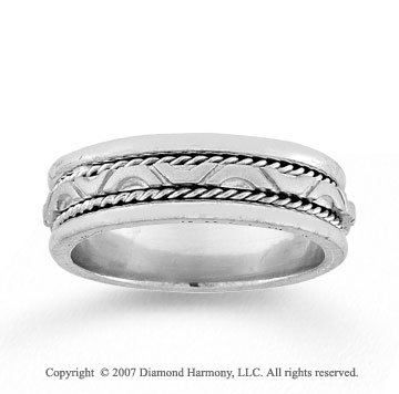 14k White Gold Forever Love Hand Carved Wedding Band