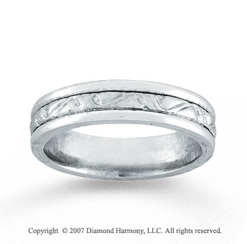 14k White Gold Forever Love Fine Hand Carved Wedding Band