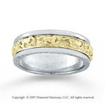 14k Two Tone Gold Fashionable Hand Carved Wedding Band