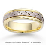 14k Two Tone Gold Stylish Smooth Braided Wedding Band