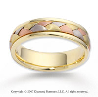 14k Tri Tone Gold Elegant Smooth Braided Wedding Band
