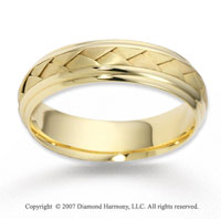 14k Yellow Gold Elegant Smooth Braided Wedding Band