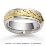 14k Two Tone Gold Fine Elegance Braided Wedding Band