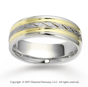 14k Two Tone Gold Stylish Elegance Braided Wedding Band