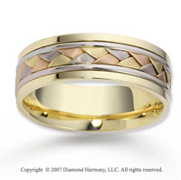 14k Tri Tone Gold Stylish Smooth Braided Wedding Band