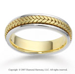14k Two Tone Gold Classy Fine Braided Wedding Band