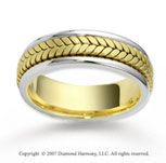 14k Two Tone Gold Classy Stylish Braided Wedding Band