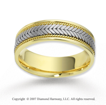 14k Two Tone Gold Classy Milgrain Braided Wedding Band