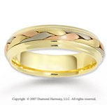 14k Tri Tone Gold Abstra Carat Fine Braided Wedding Band