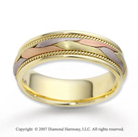 14k Tri Tone Gold Abstra Carat Fashion Braided Wedding Band