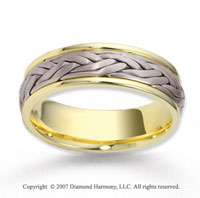 14k Two Tone Gold Modern Class Braided Wedding Band