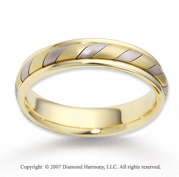 14k Two Tone Gold Stylish Swirl Rope Wedding Band