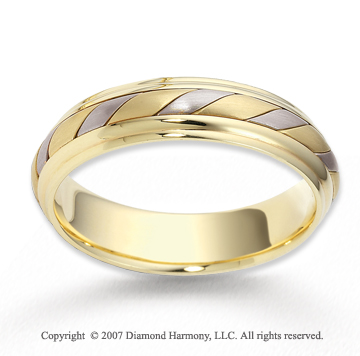 14k Two Tone Gold Graceful Swirl Rope Wedding Band