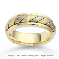14k Two Tone Gold Elegant Swirl Rope Wedding Band