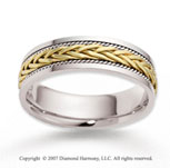 14k Two Tone Gold Tangle Milgrain Braided Wedding Band