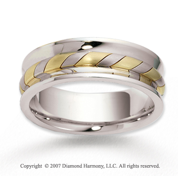 14k Two Tone Gold Swirl GrooveRope Wedding Band