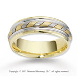 14k Two Tone Gold Sleek Swirl Rope Wedding Band