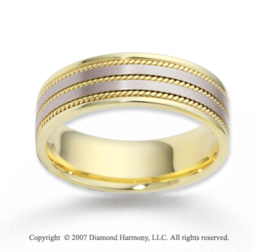 14k Two Tone Gold Fine Rope Wedding Band