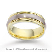 14k Two Tone Gold Harmony Rope Wedding Band