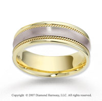 14k Two Tone Gold Harmony Fine Rope Wedding Band
