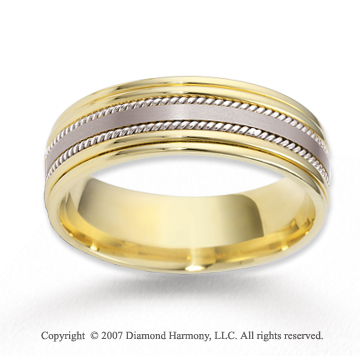 14k Two Tone Gold Harmony Fashion Rope Wedding Band