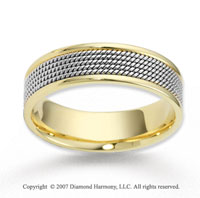 14k Two Tone Gold Main Fashion Rope Wedding Band
