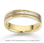 14k Two Tone Gold Elegant Carved Rope Wedding Band