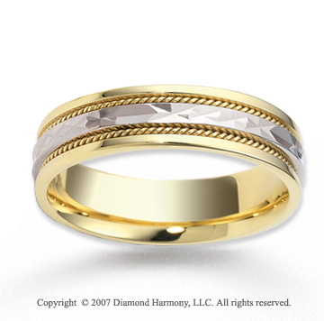 14k Two Tone Gold Elegant Facet Rope Wedding Band