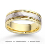 14k Two Tone Gold Stylish Trend Rope Wedding Band