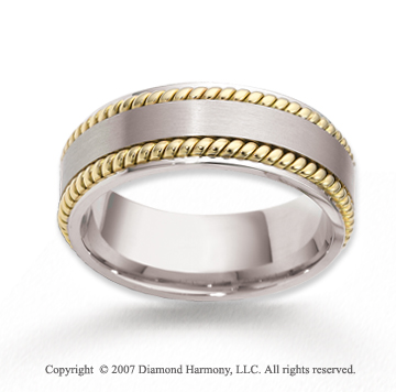 14k Two Tone Gold Stylish Sleek Rope Wedding Band