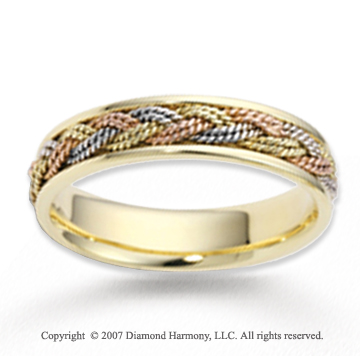 14k Tri Tone Gold Elegant Rope Braided Wedding Band