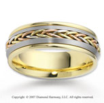 14k Tri Tone Gold Fine Elegance Braided Wedding Band