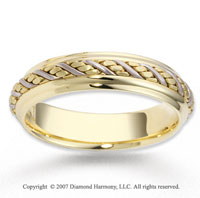 14k Two Tone Gold Forever Elegant Braided Wedding Band